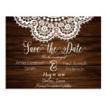 Lace and wood Save the Date II Postcard