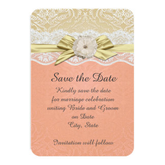 Lace Ribbon Gold/Coral Damask Save the date 9 Cm X 13 Cm Invitation Card
