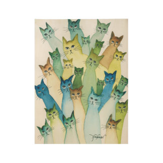 Lacomb Whimsical Cats Wood Poster