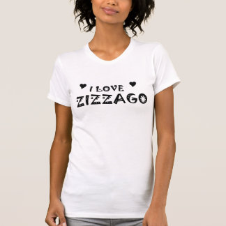 Ladies Fitted Camisole Shirt Top I Love ZIZZAGO BW