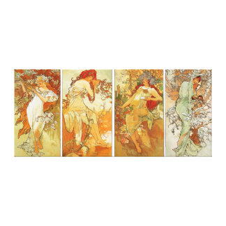 Ladies in Four Season Vintage Painting Stretched Canvas Prints