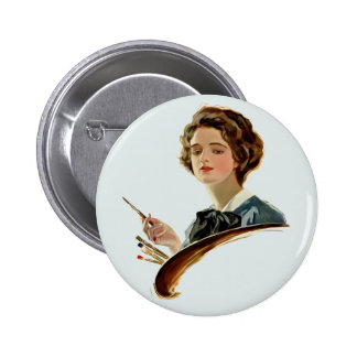 Lady Artist 6 Cm Round Badge