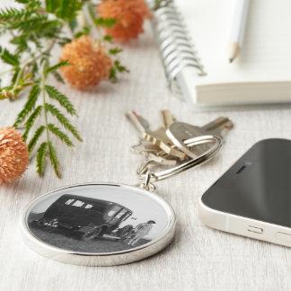 Lady & Car Black & White Premium Round Keychain