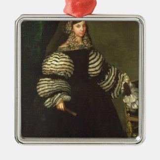 Lady of the Medinaceli family, c.1683 Silver-Colored Square Decoration