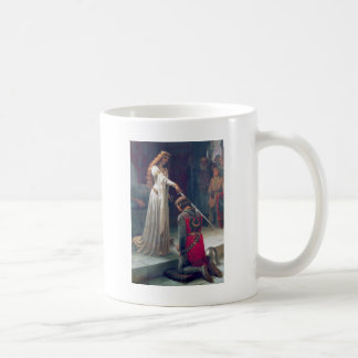 Lady queen knighting knight antique painting basic white mug