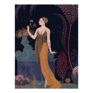 Lady with rose by George Barbier 1914 Poster