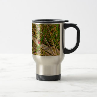 Ladybird in the grass picture stainless steel travel mug