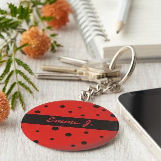 Ladybug Pattern Personalized Name Keychains