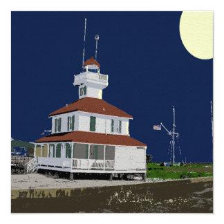 Lake Pontchartrain Lighthouse at Night 13 Cm X 13 Cm Square Invitation Card