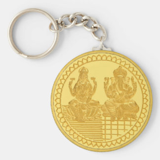 LAKSHMI AND GANESH GOLD COIN DESIGN BASIC ROUND BUTTON KEY RING