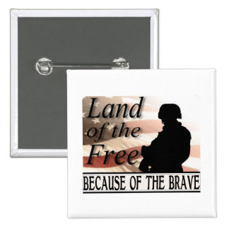 Land of the Free Because of the Brave Military 15 Cm Square Badge