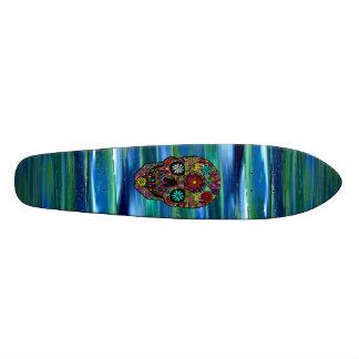 Land Sky & Sea abstract & digital floral skull Art Skateboards