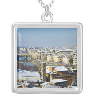 Landscape of Florence from Piazzale 2 Square Pendant Necklace