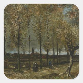 Lane with Poplars by Van Gogh Square Sticker
