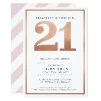 LARGE AGE NUMBER INVITE glam 21 rose gold foil