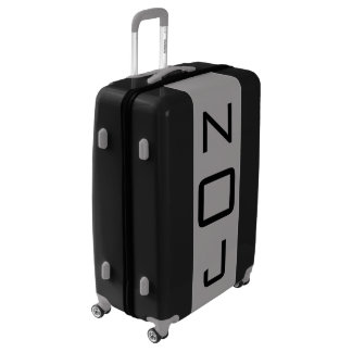 LARGE Black + Gray Monogrammed Luggage