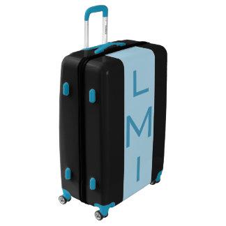 LARGE Black + Light Blue Monogrammed Luggage