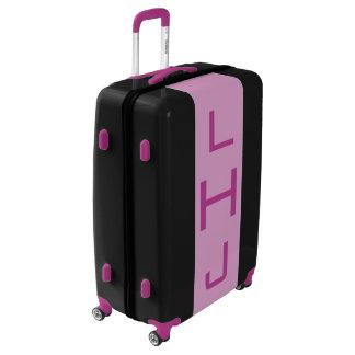 LARGE Black + Light Purple Monogrammed Luggage