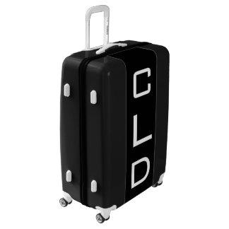 LARGE Black + White Personalized Monogram Luggage