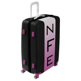 LARGE Black + White-Purple Ombre Monogram Luggage
