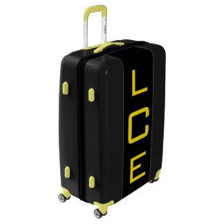 LARGE Black+Yellow Personalized Monogram Luggage