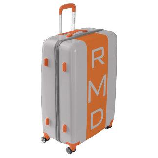 LARGE Silver + Orange Monogrammed Luggage