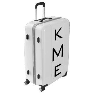 LARGE White + Black Personalized Monogram Luggage