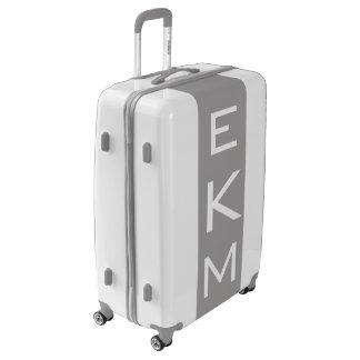LARGE White + Gray Monogrammed Luggage