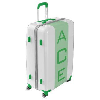 LARGE White + Light Green Monogrammed Luggage