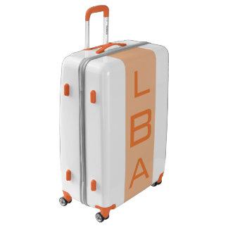 LARGE White + Light Orange Monogrammed Luggage