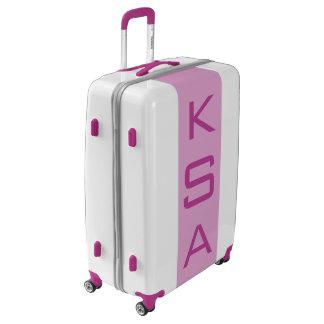 LARGE White + Light Purple Monogrammed Luggage