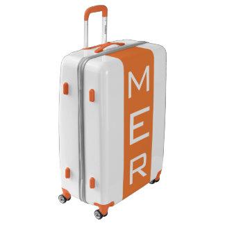 LARGE White + Orange Monogrammed Luggage