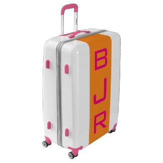 LARGE White+Orange+Pink Monogrammed Luggage