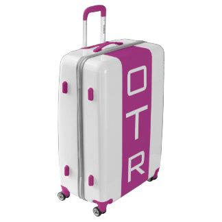 LARGE White + Purple Monogrammed Luggage