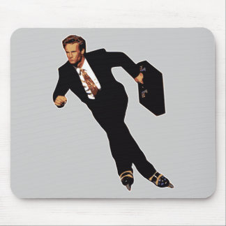 Late For Business Rollerblade Skater Meme Mouse Pad