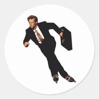 Late For Business Rollerblade Skater Meme Round Sticker