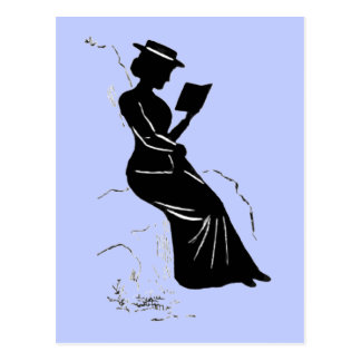Late Victorian - era silhouette of a lady reading Postcard