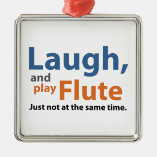 Laugh and Play Flute Silver-Colored Square Decoration