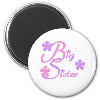 Lavender and Pink Big Sister 6 Cm Round Magnet