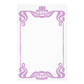 Lavender Art Nouveau Border Stationary Personalised Stationery