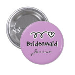 Lavender bridesmaid buttons personalised with name