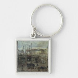 L'Avenue de L'Opera, 1878 Silver-Colored Square Key Ring