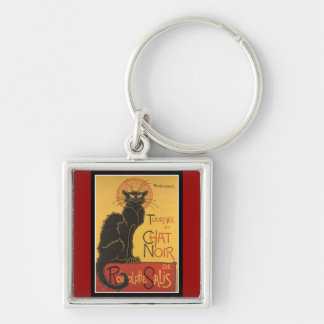 "LE CHAT NOIR PRINT (French for ""The Black Cat"") Silver-Colored Square Key Ring"