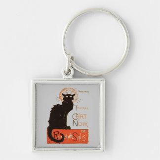 Le Chat Noir Silver-Colored Square Key Ring