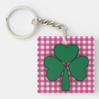 Leaf Clover with Pink Checker  Square Key Chain