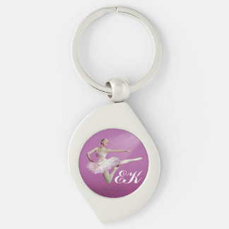 Leaping Ballerina on Pink, Monogram Silver-Colored Swirl Key Ring
