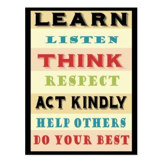 Learn Teachers Educational Postcard