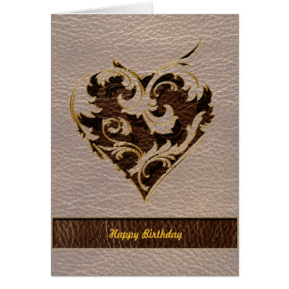 Leather-Look Heart Soft Greeting Card