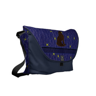 Leather-Look Native American Zodiac Wolf Messenger Bags