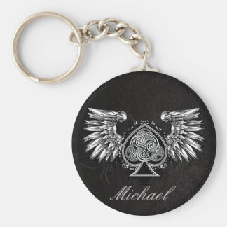 Leather Tattoo Urban Winged Celtic Knot Keychain